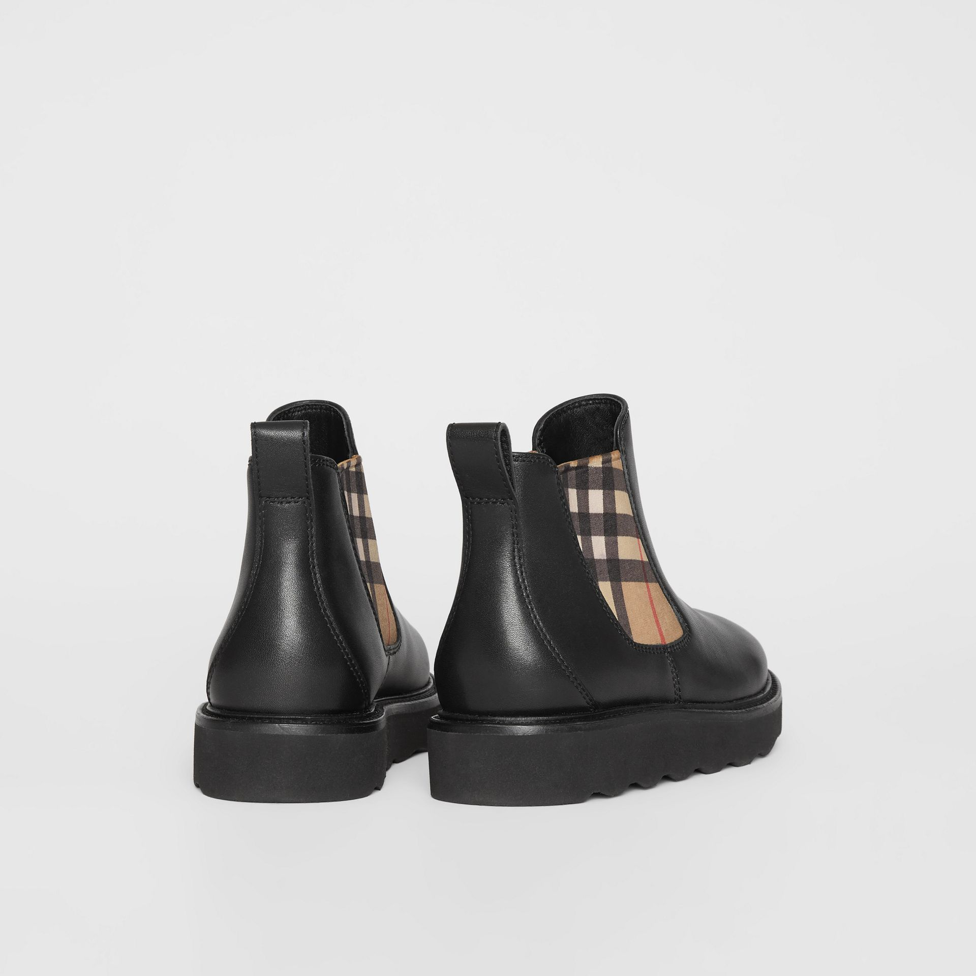 Vintage Check and Leather Chelsea Boots in Black - Children | Burberry - gallery image 2