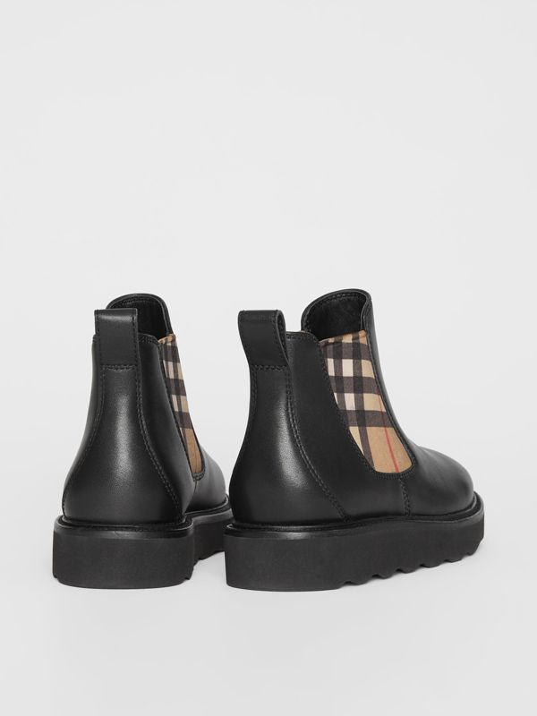 Vintage Check and Leather Chelsea Boots in Black - Children | Burberry - cell image 2