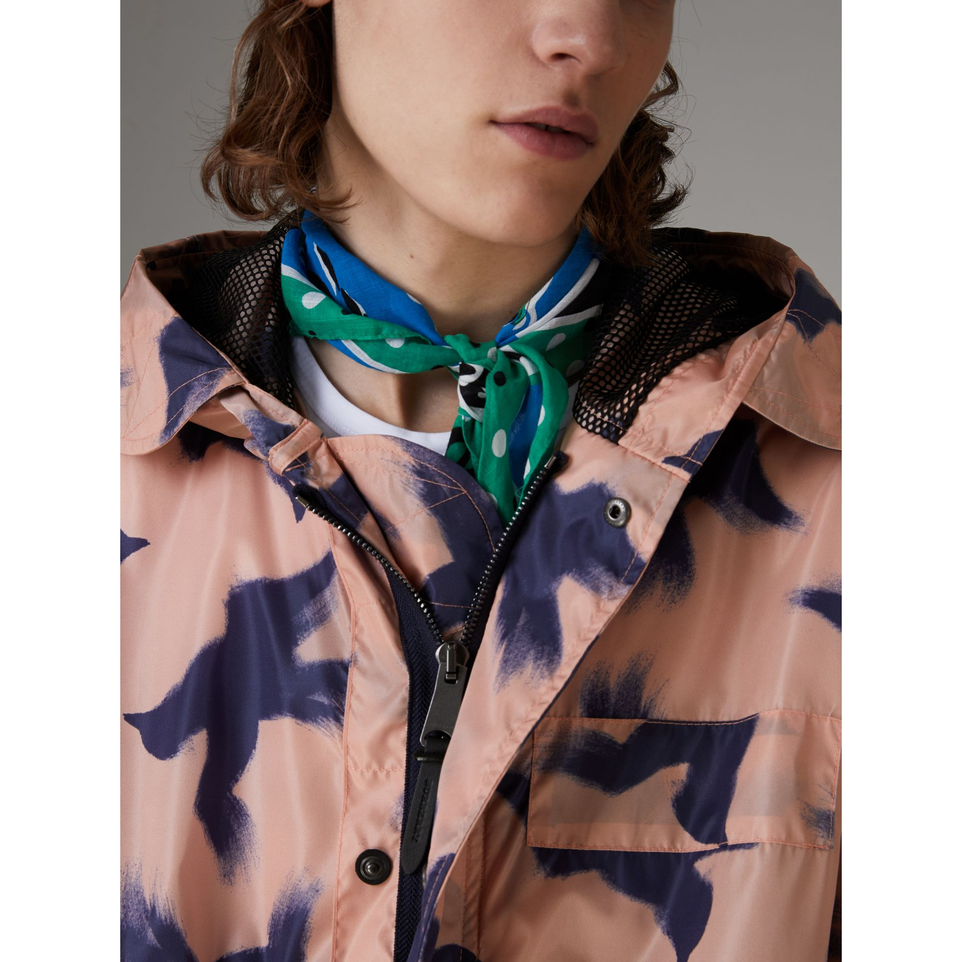Bird Print Lightweight Parka in Apricot Pink - Men | Burberry Hong Kong - gallery image 1