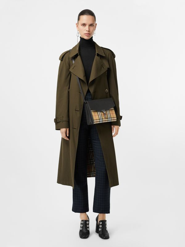 Small Vintage Check and Leather Crossbody Bag in Black - Women | Burberry Singapore - cell image 2