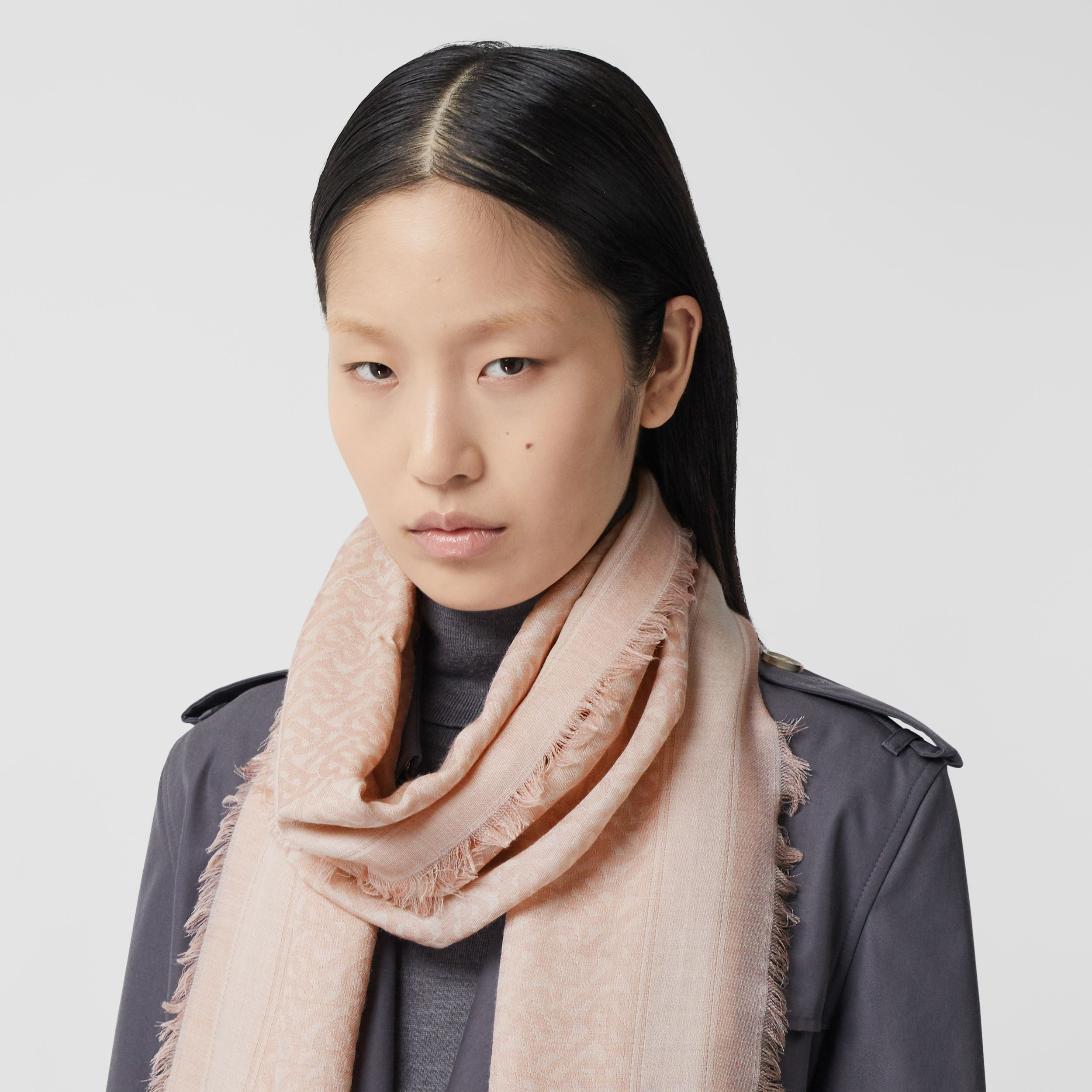 Monogram Wool Silk Jacquard Scarf in Alabaster Pink | Burberry - 3