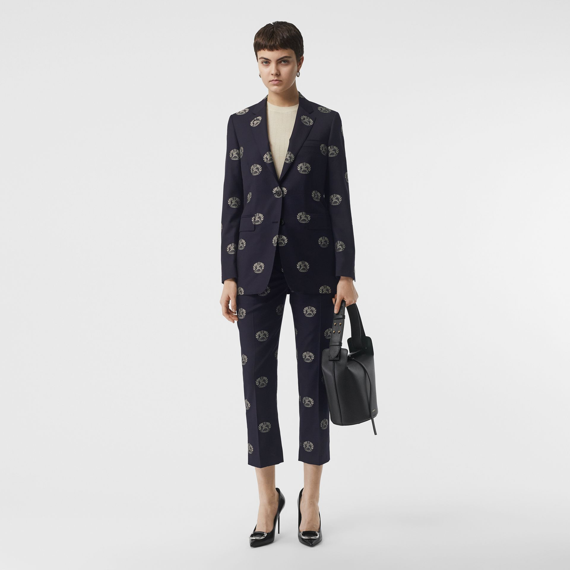 Fil Coupé Crest Wool Tailored Jacket in Midnight Blue - Women | Burberry - gallery image 0