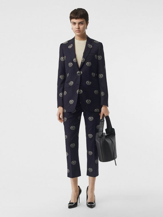 Fil Coupé Crest Wool Tailored Jacket in Midnight Blue