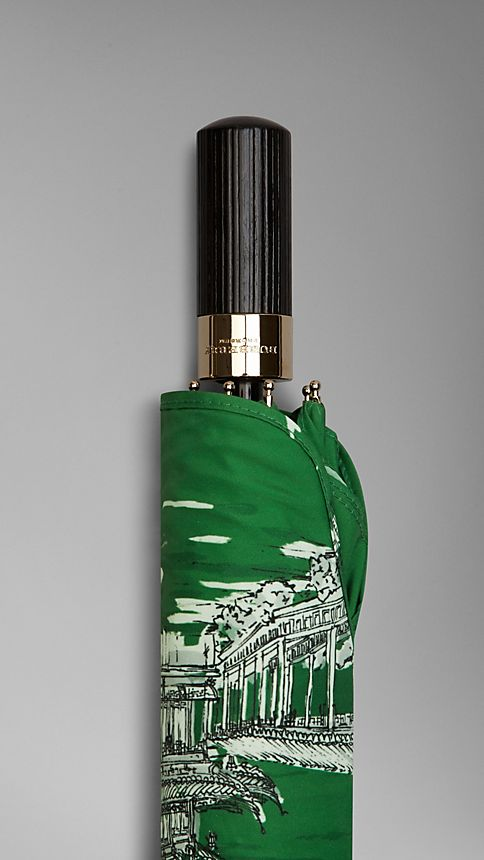 Bright cedar green Shanghai Landmarks Folding Umbrella - Image 4