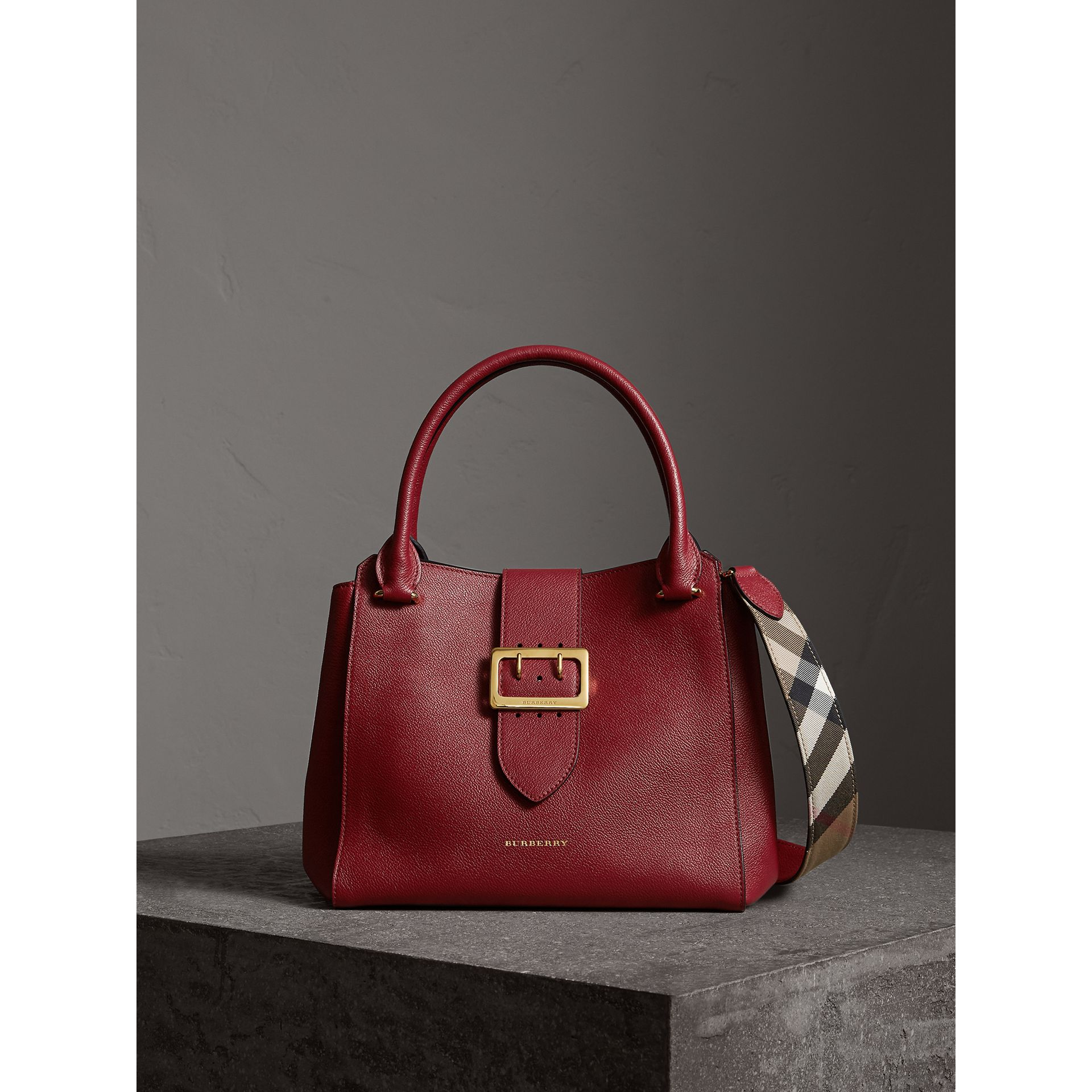 The Medium Buckle Tote in Grainy Leather in Parade Red - Women | Burberry Australia - gallery image 1