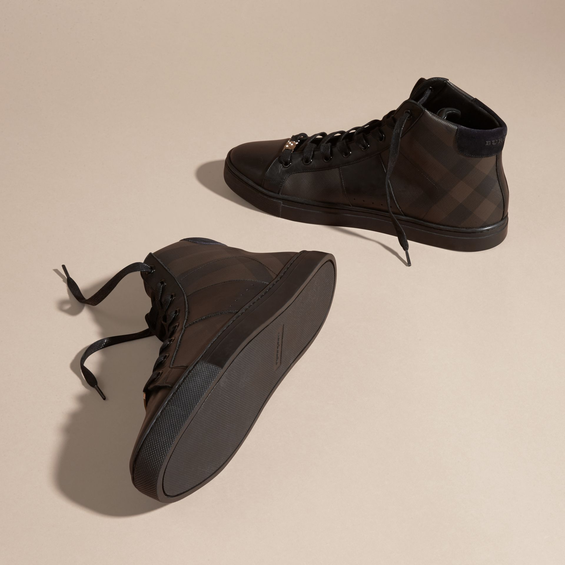 London Check and Leather High-Top Trainers in Smoked Chocolate - Men | Burberry - gallery image 5