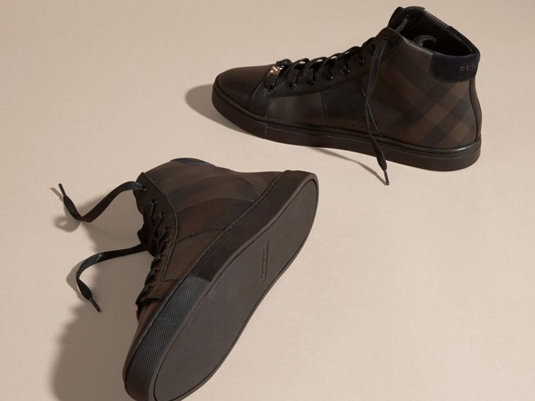 London Check and Leather High-Top Trainers in Smoked Chocolate - Men | Burberry - cell image 4