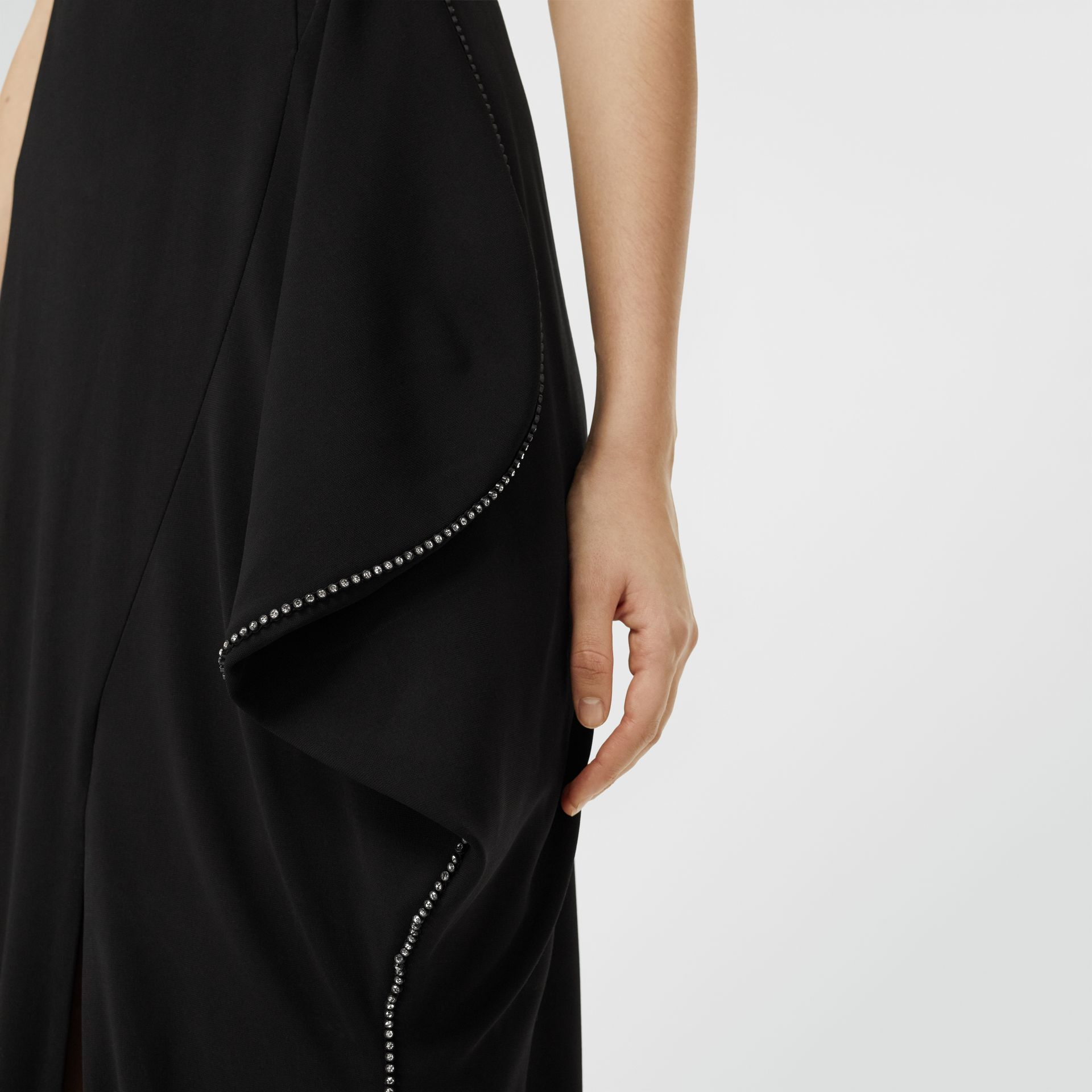 Crystal Detail Cut-out Stretch Jersey Gown in Black - Women | Burberry - gallery image 4