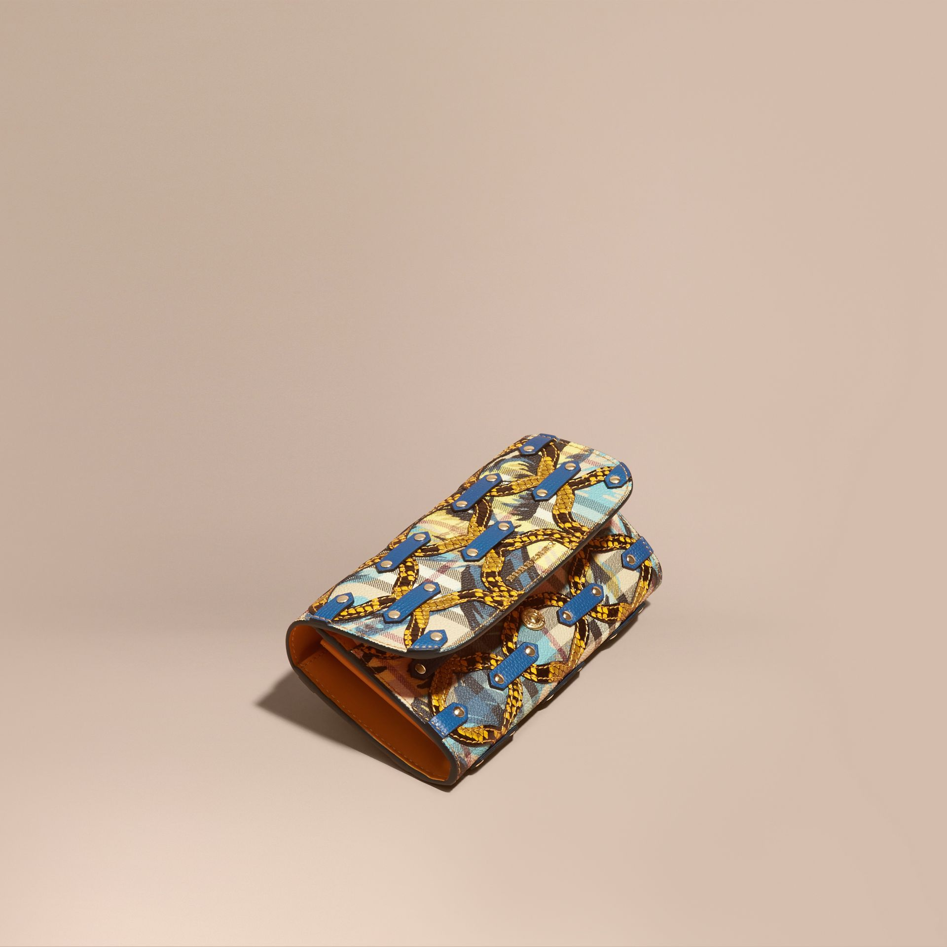 Snakeskin Appliqué Peony Rose Print Haymarket Check Continental Wallet in Mineral Blue - gallery image 1