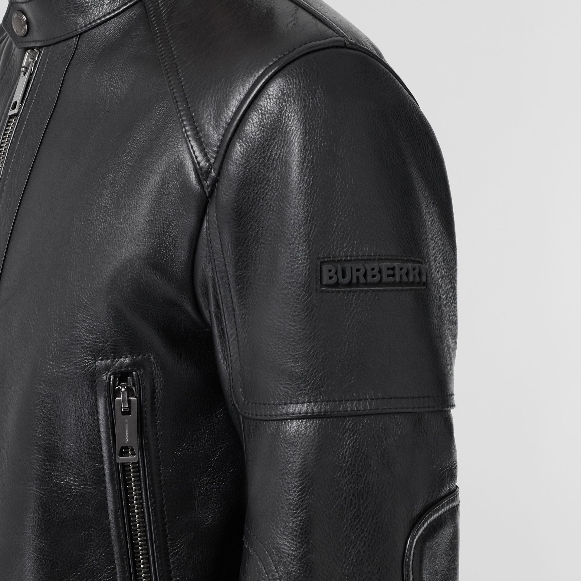 Leather Bomber Jacket in Black - Men | Burberry - gallery image 4