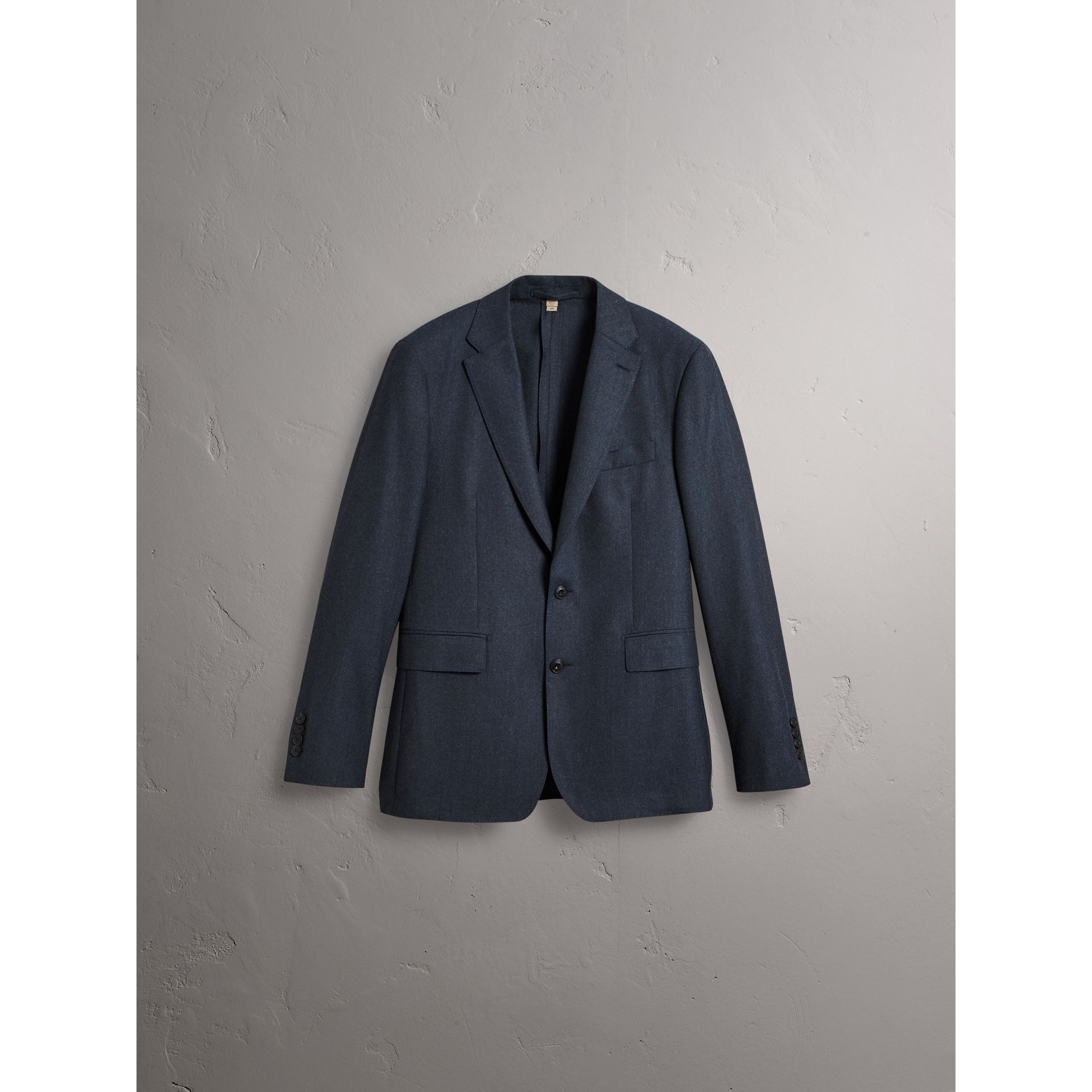 Soho Fit Wool Flannel Suit in Petrol Blue Melange - Men | Burberry Australia - gallery image 4