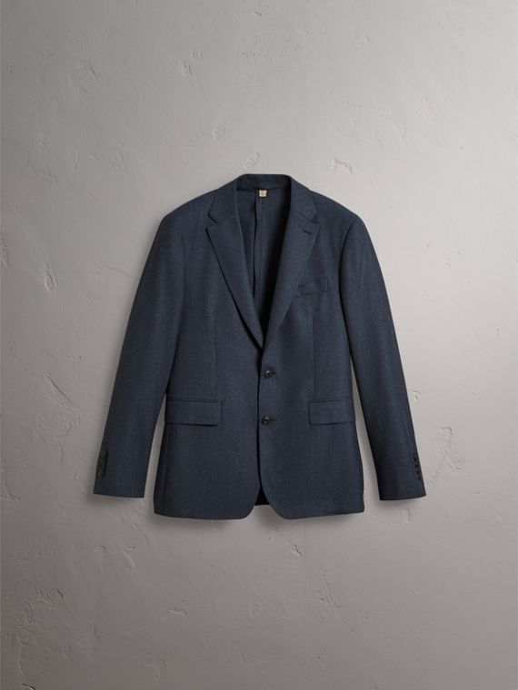 Soho Fit Wool Flannel Suit in Petrol Blue Melange - Men | Burberry Australia - cell image 3