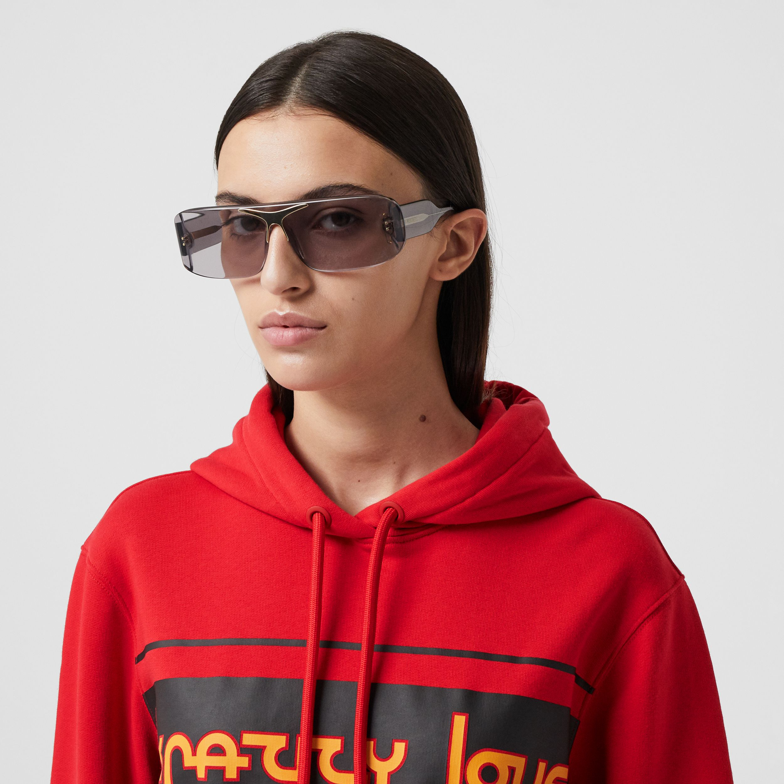 Slogan Print Cotton Oversized Hoodie in Bright Red - Women | Burberry - 2