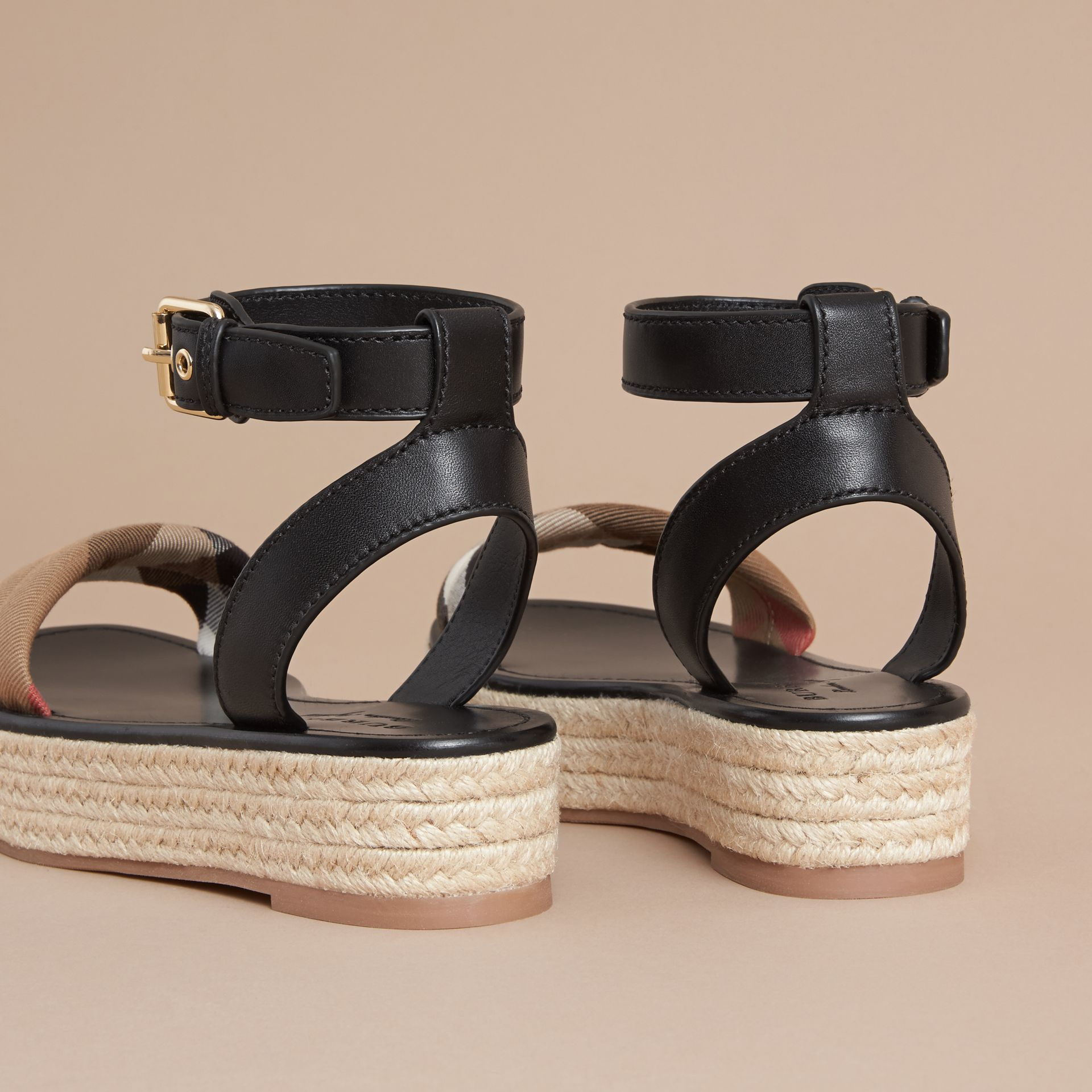 Leather and House Check Espadrille Platform Sandals in Black - gallery image 4