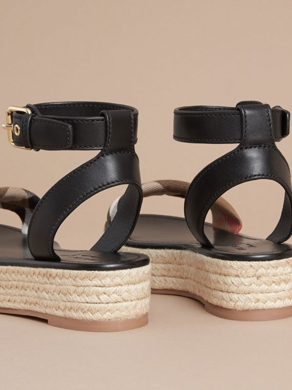 Leather and House Check Espadrille Platform Sandals in Black - cell image 3
