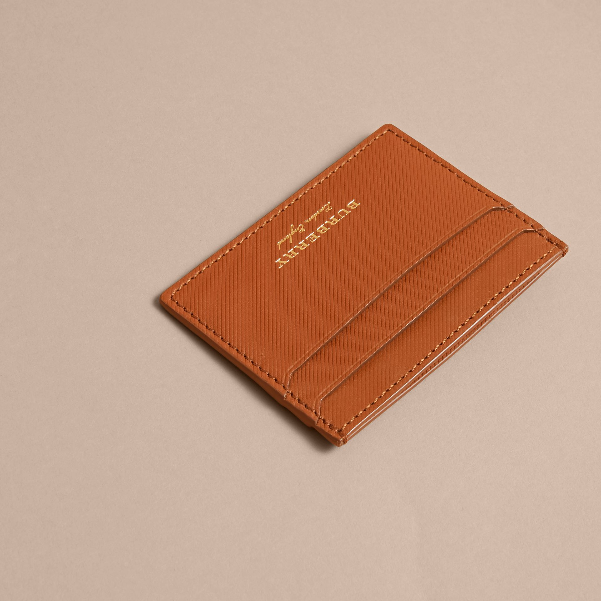 Trench Leather Card Case in Tan - Men | Burberry Australia - gallery image 3