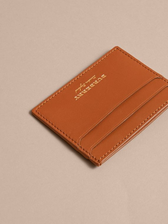 Trench Leather Card Case in Tan - Men | Burberry Australia - cell image 2