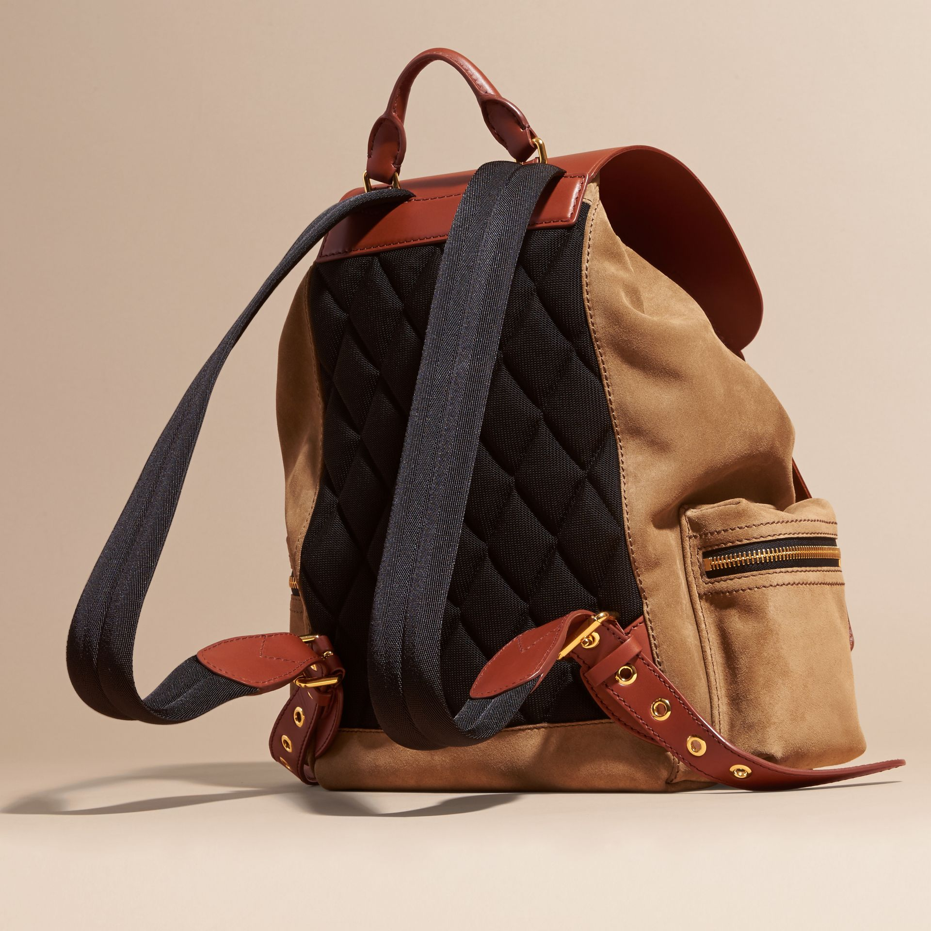 Tan The Large Rucksack in Suede and Bridle Leather - gallery image 4