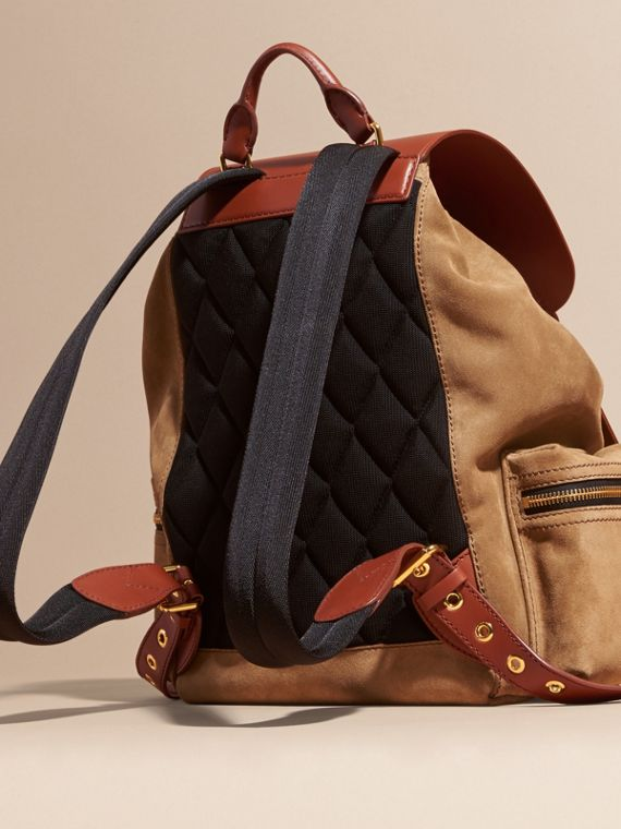 Tan The Large Rucksack in Suede and Bridle Leather - cell image 3