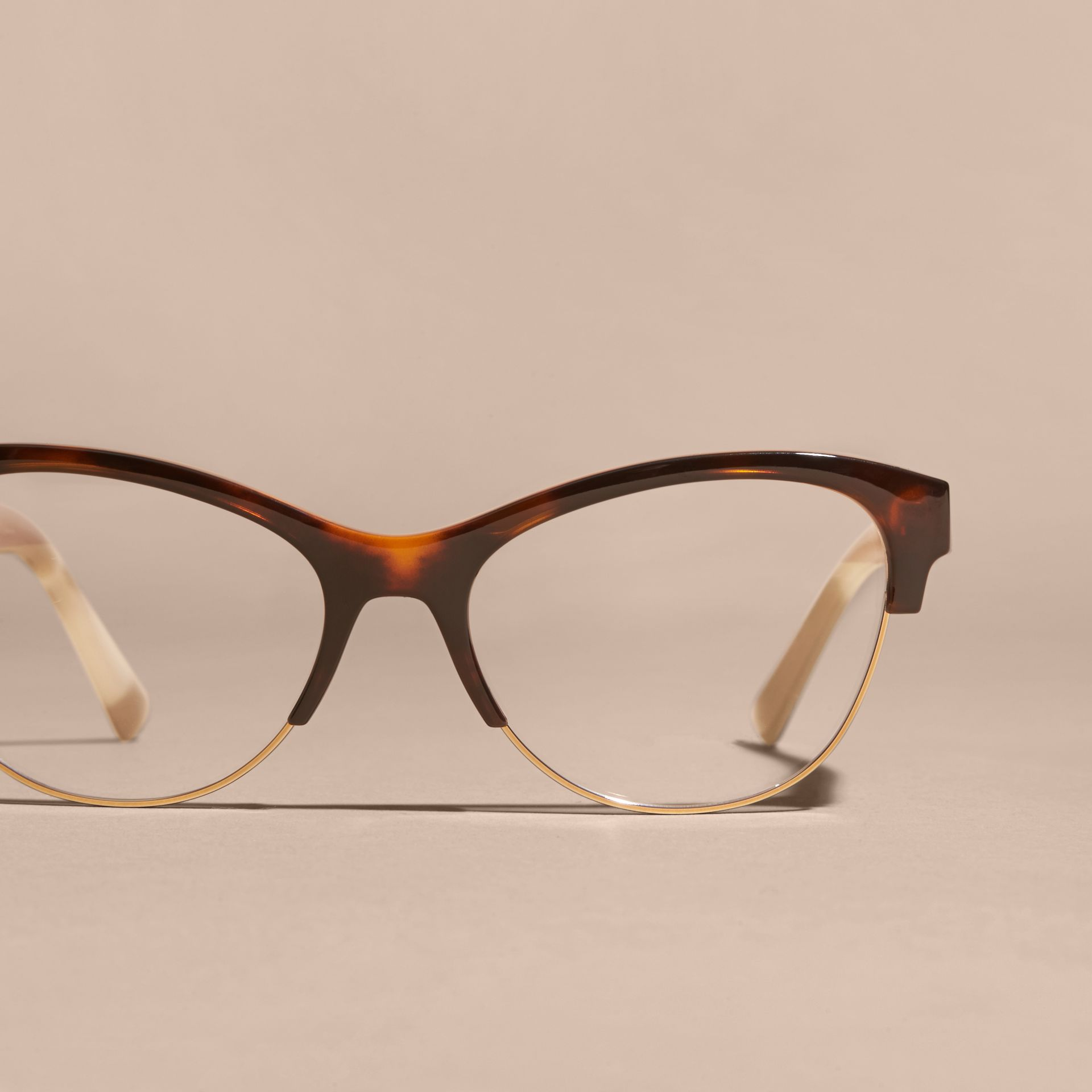 Half-rimmed Cat-eye Optical Frames Light Russet Brown - gallery image 3