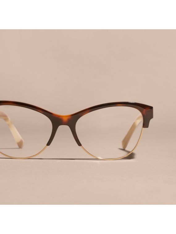 Half-rimmed Cat-eye Optical Frames Light Russet Brown ...