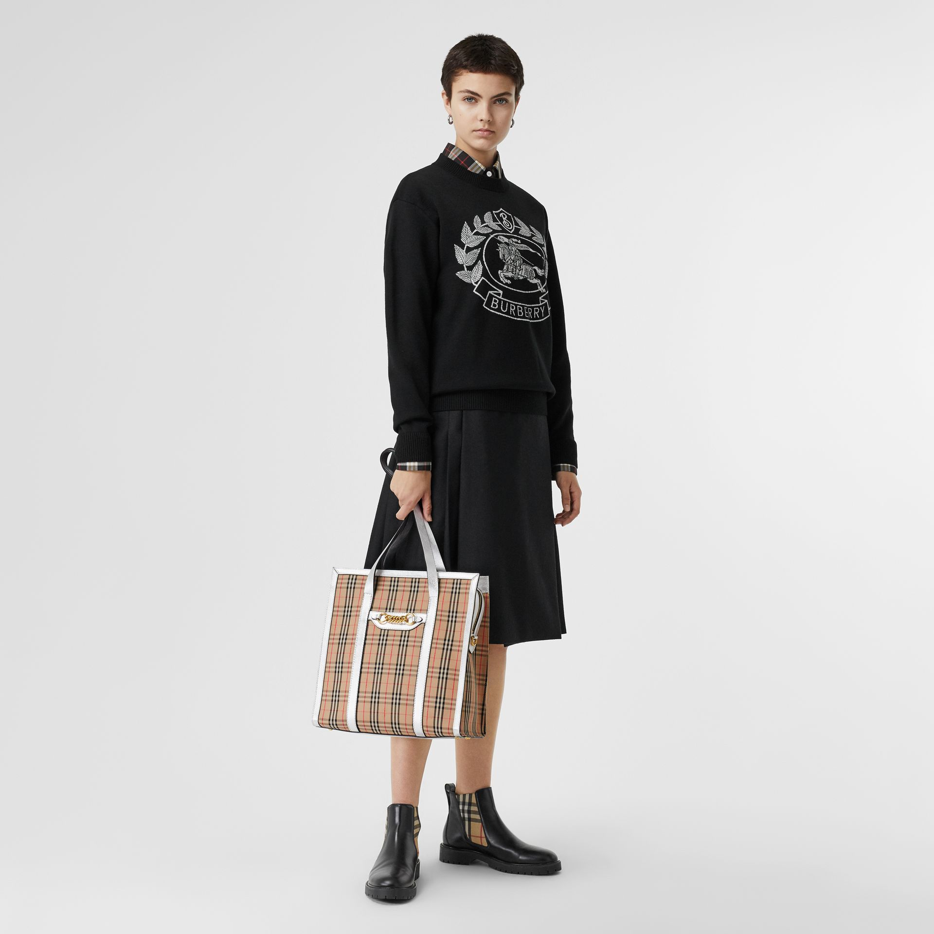 The Small 1983 Check Link Tote Bag in Silver - Women | Burberry Singapore - gallery image 2