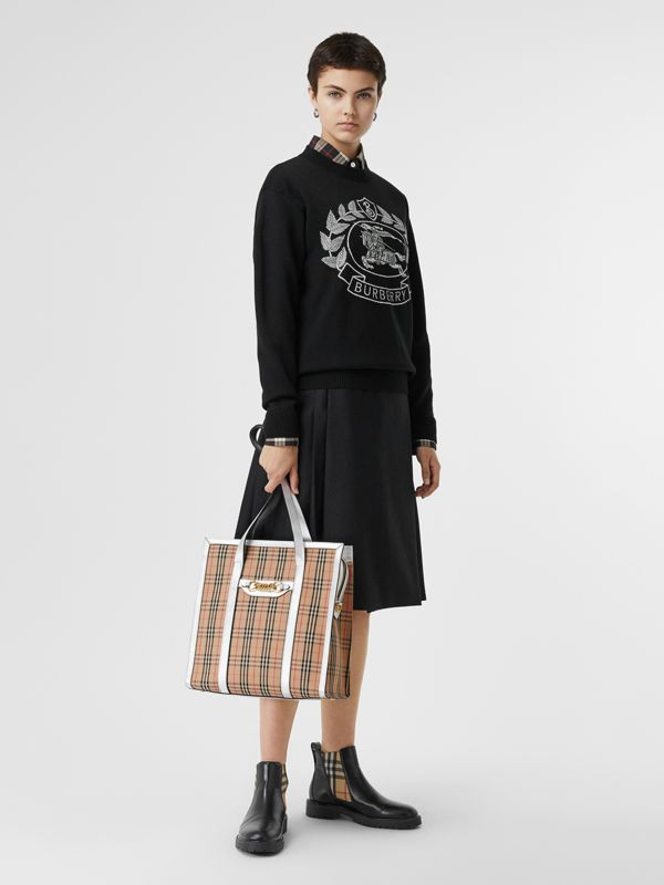 The Small 1983 Check Link Tote Bag in Silver - Women | Burberry United Kingdom - cell image 2