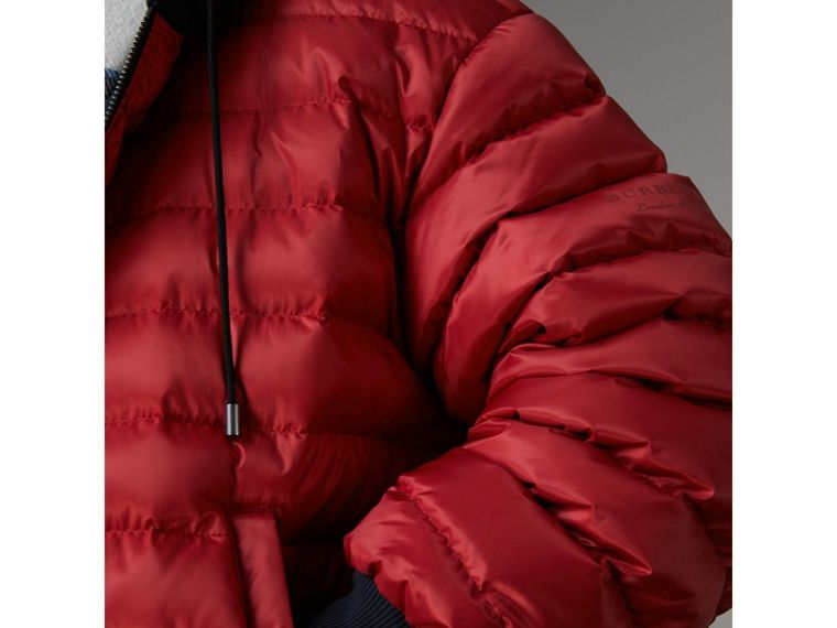 Reversible Down-filled Hooded Bomber Jacket in Parade Red - Women | Burberry - cell image 1