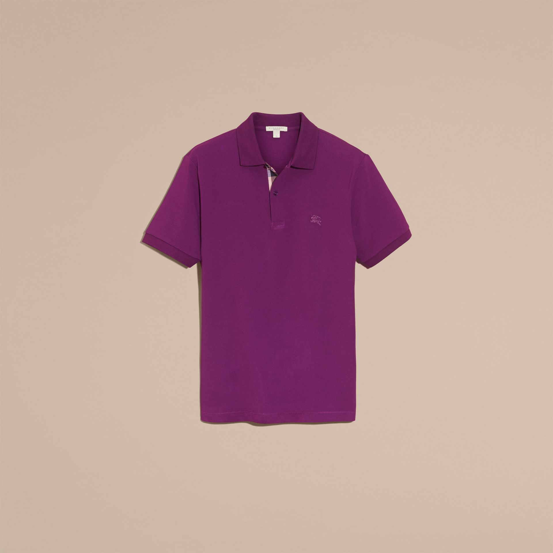Check Placket Cotton Piqué Polo Shirt in Deep Purple Amethyst - gallery image 4