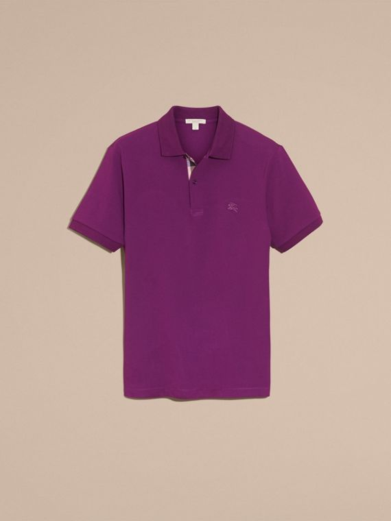 Check Placket Cotton Piqué Polo Shirt in Deep Purple Amethyst - cell image 3