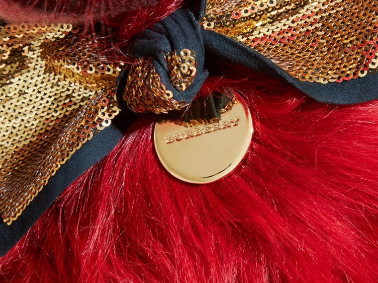 Pom-Pom Thomas Bear in Shearling and Check Cashmere in Parade Red | Burberry - cell image 1