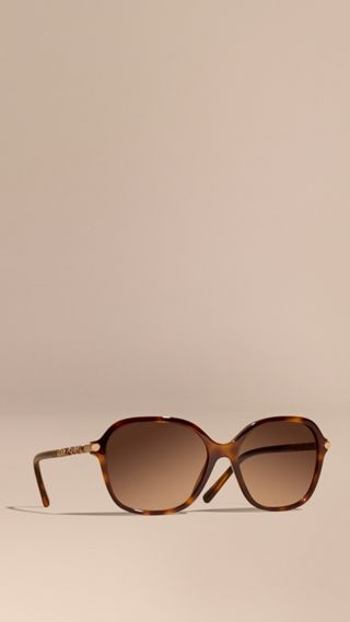 Check Detail Round Frame Sunglasses