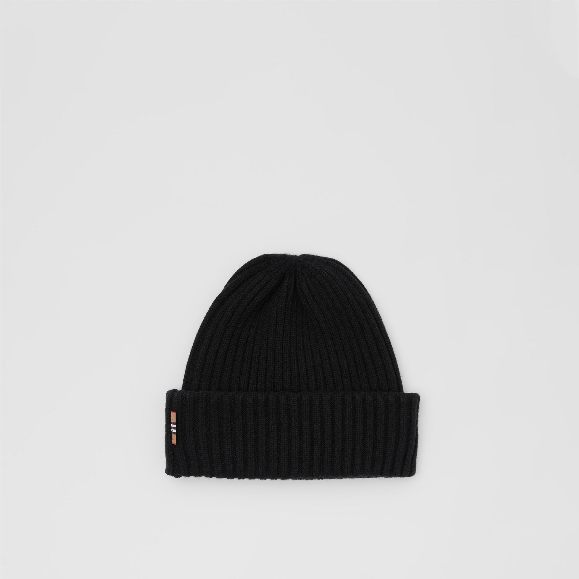 Icon Stripe Trim Rib Knit Cashmere Beanie in Black | Burberry - gallery image 3