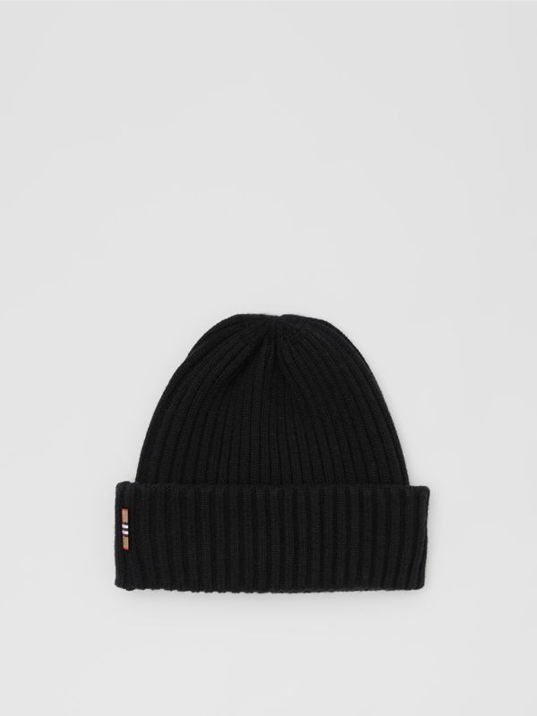 Icon Stripe Trim Rib Knit Cashmere Beanie in Black | Burberry - cell image 3