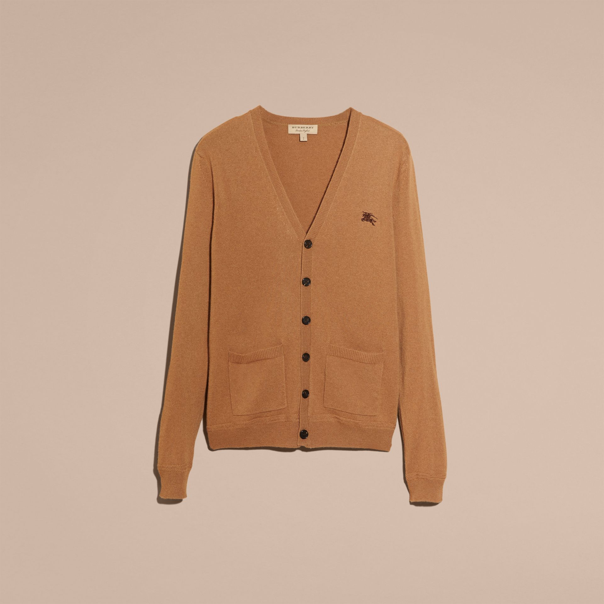 V-Neck Cashmere Cardigan in Mid Camel - gallery image 4