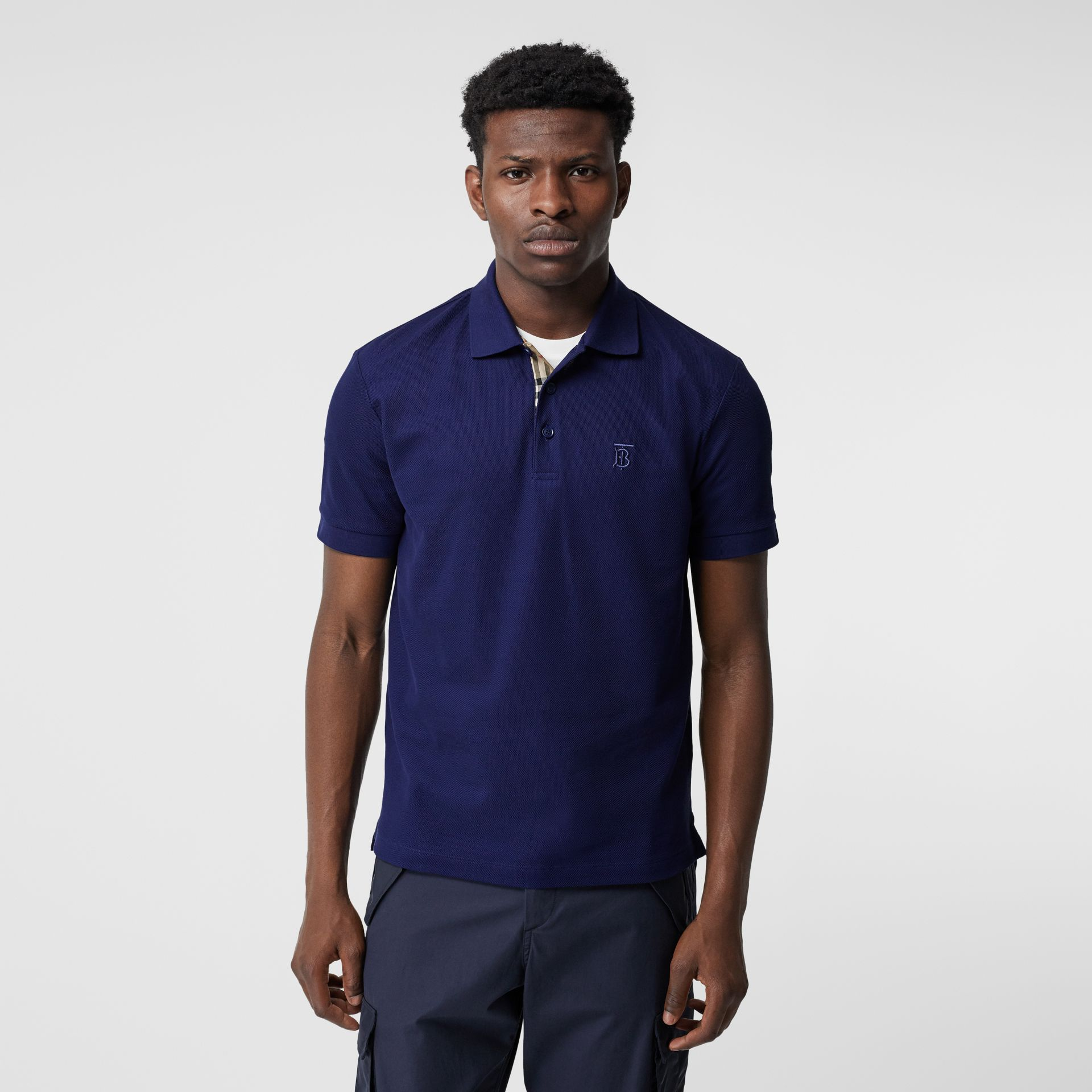 Monogram Motif Cotton Piqué Polo Shirt in Indigo - Men | Burberry - gallery image 0