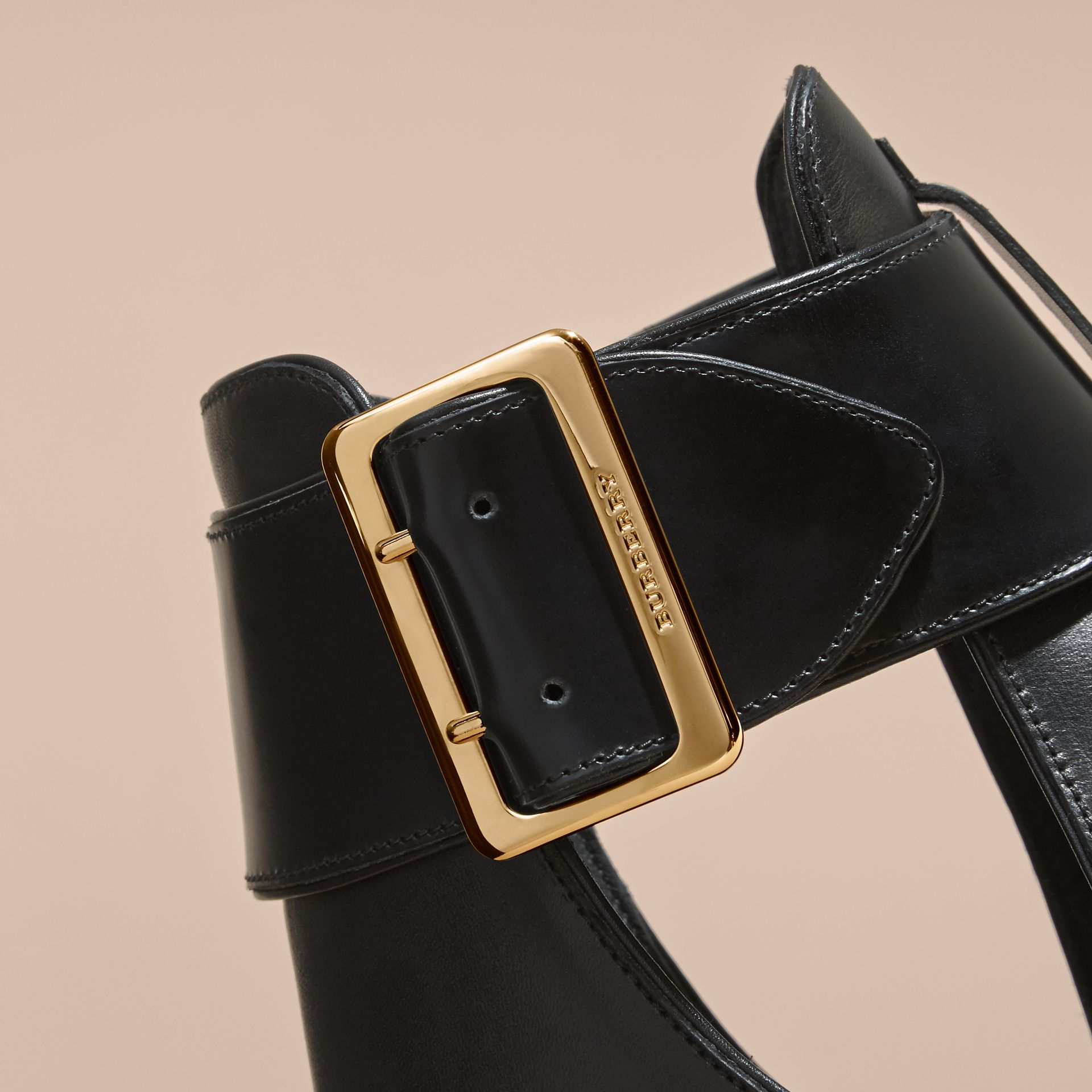 Buckle Detail Peep-toe Platform Ankle Boots - gallery image 2