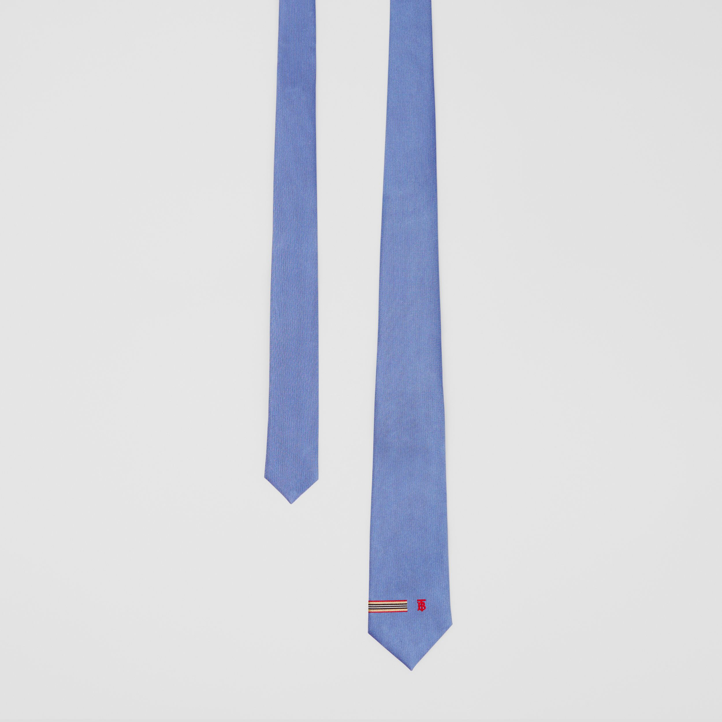 Classic Cut Icon Stripe and Monogram Motif Silk Tie in Bluebell - Men | Burberry - 1
