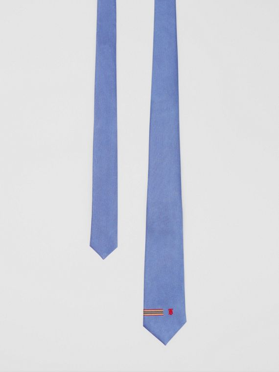 Classic Cut Icon Stripe and Monogram Motif Silk Tie in Bluebell