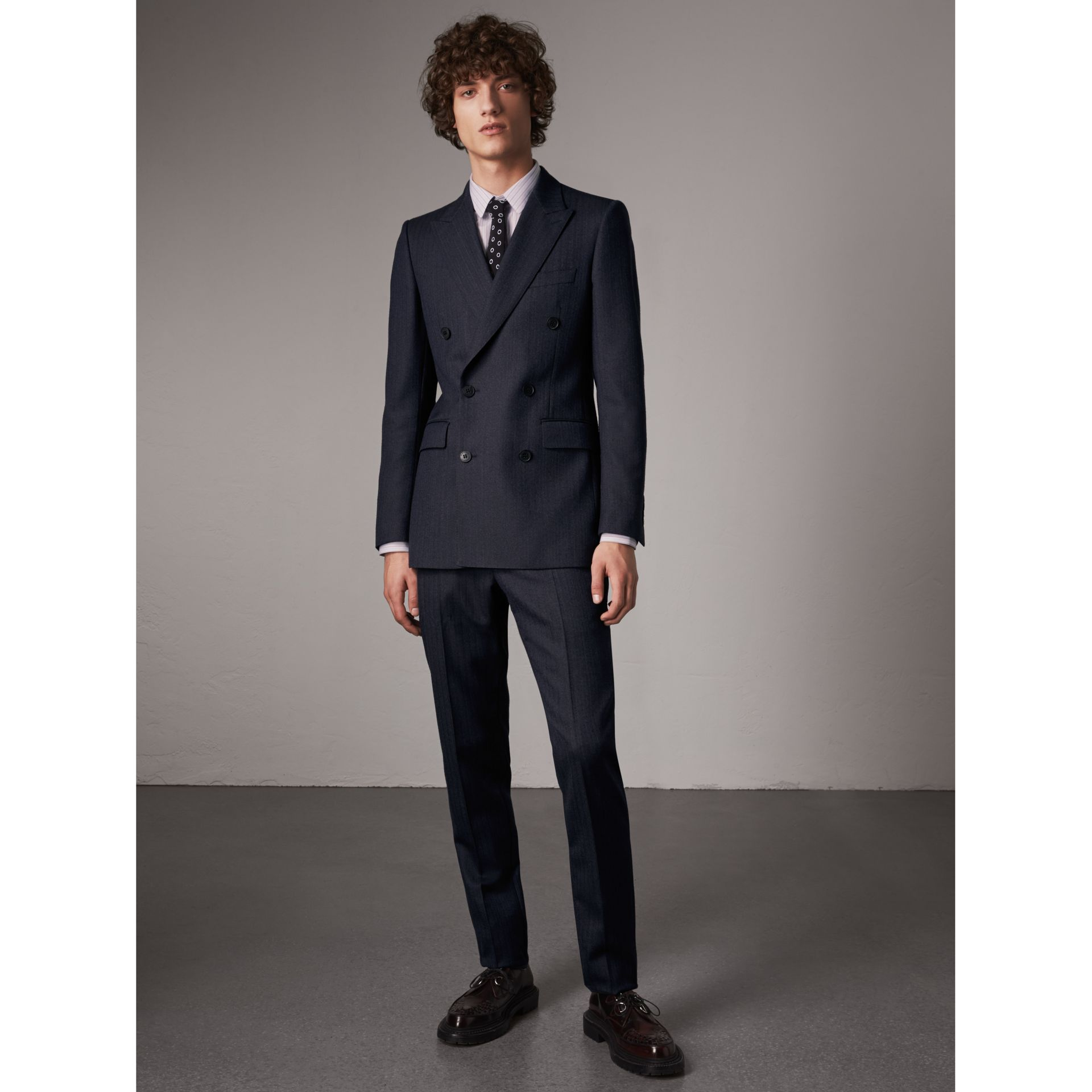 Slim Fit Double-breasted Herringbone Wool Suit in Ink Blue - Men | Burberry - gallery image 1