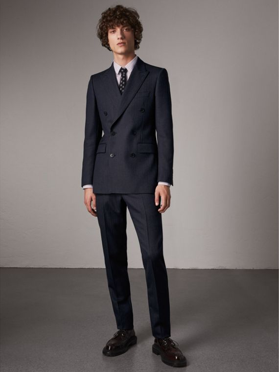 Slim Fit Double-breasted Herringbone Wool Suit in Ink Blue