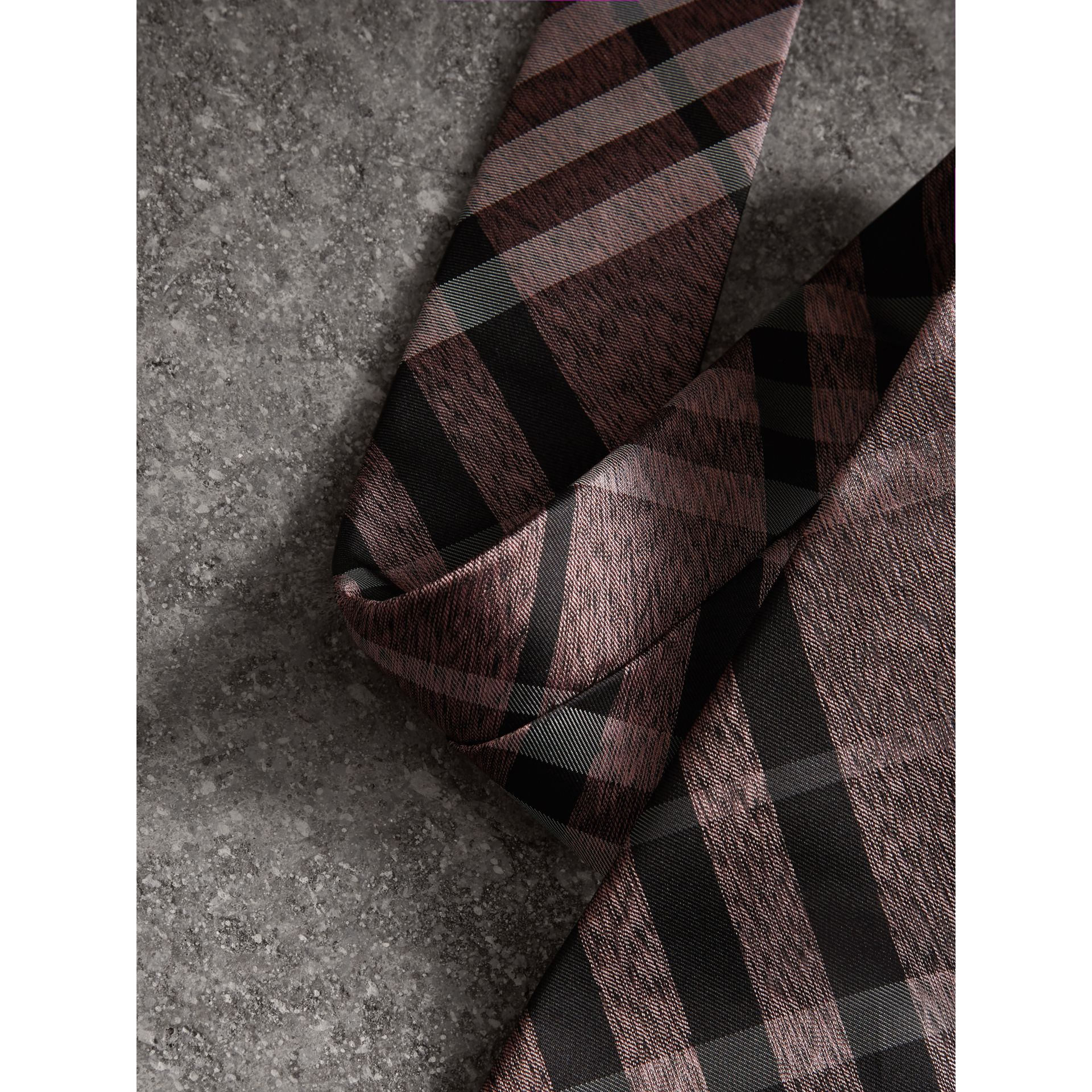 Modern Cut Check Silk Tie in Pale Fuchsia - Men | Burberry United States - gallery image 1
