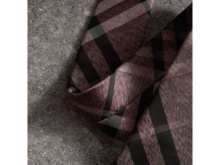 Modern Cut Check Silk Tie in Pale Fuchsia - Men | Burberry - cell image 1