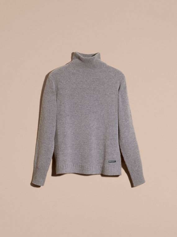 Mid grey melange Funnel Neck Wool Sweater Mid Grey Melange - cell image 3