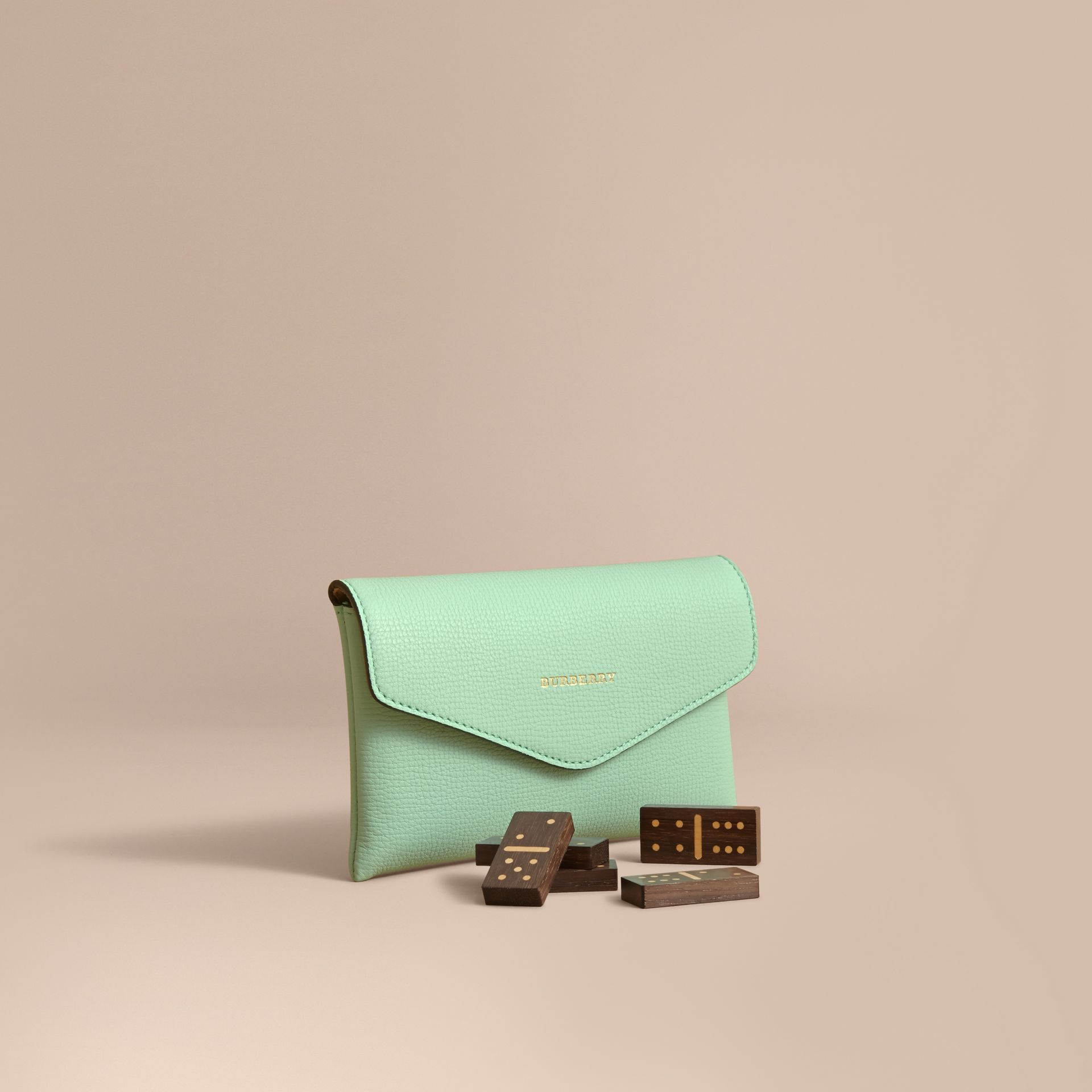 Wooden Domino Set with Grainy Leather Case in Light Mint - Women | Burberry Australia - gallery image 1