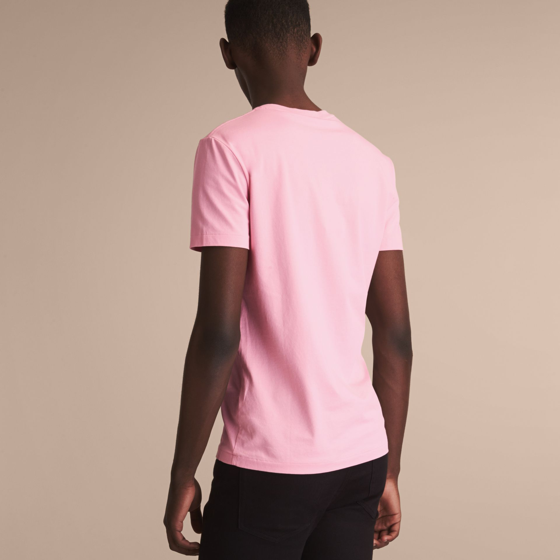 Cotton V-neck T-shirt in Light Pink - Men | Burberry - gallery image 2