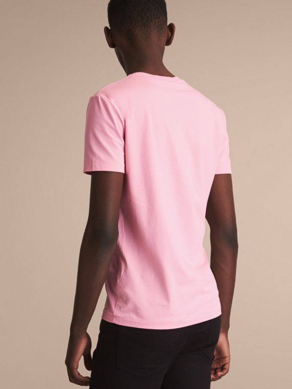 Cotton V-neck T-shirt in Light Pink - Men | Burberry - cell image 2