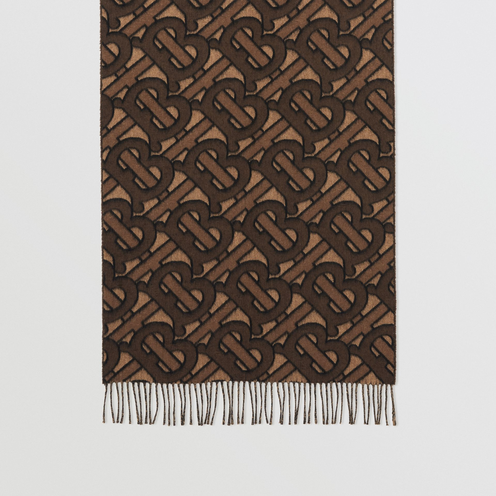 Monogram Cashmere Jacquard Scarf in Dark Mocha | Burberry - gallery image 4