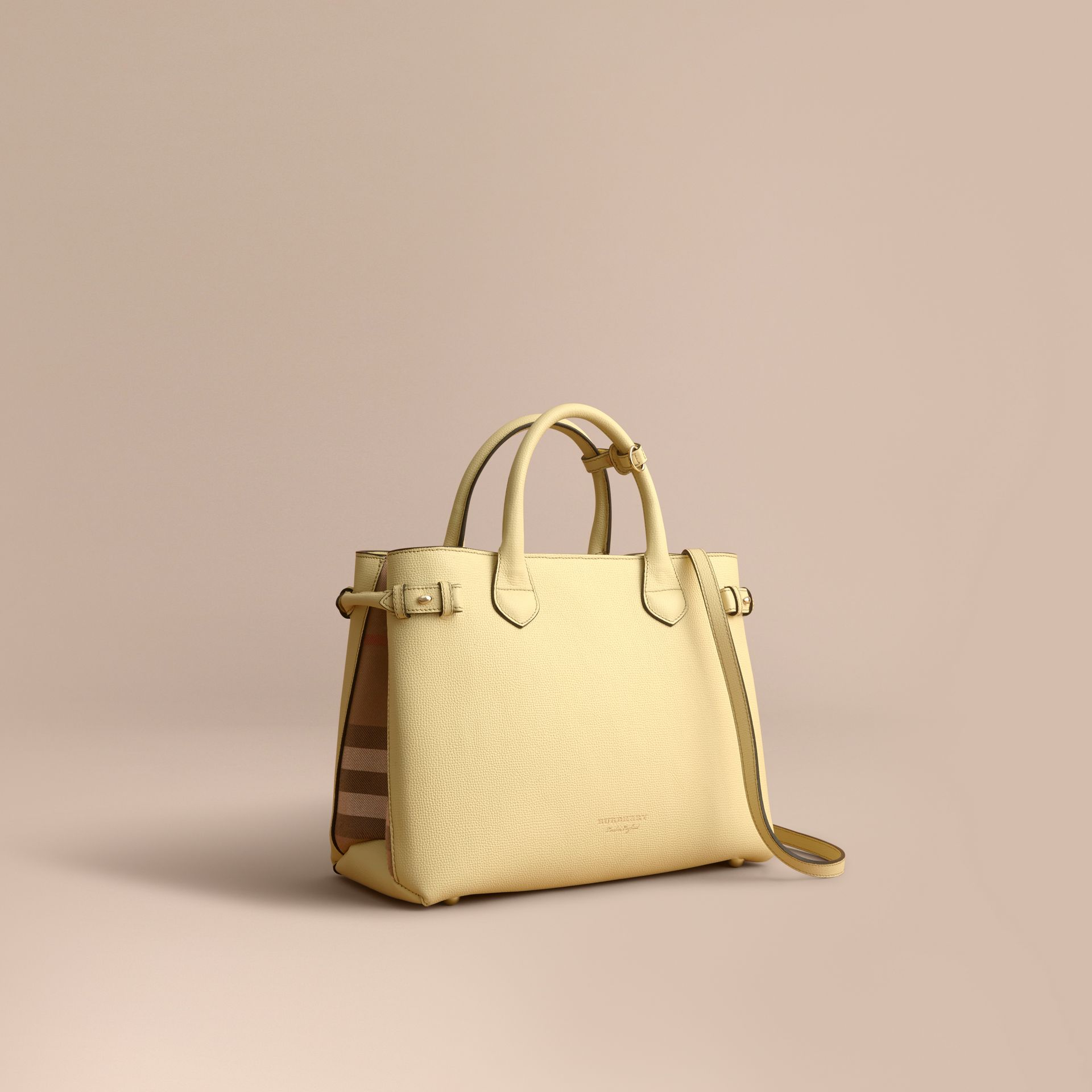 The Medium Banner in Leather and House Check in Camomile Yellow - gallery image 1