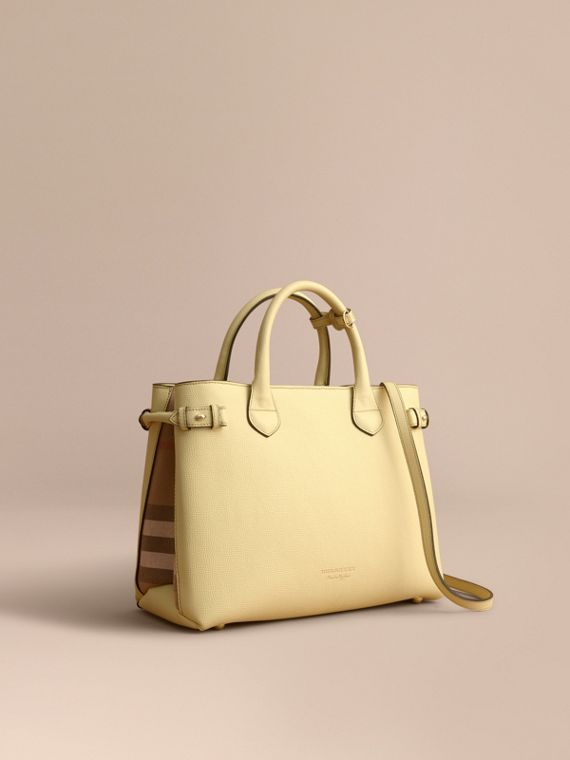 Sac The Banner medium en cuir et coton House check (Jaune Camomille)